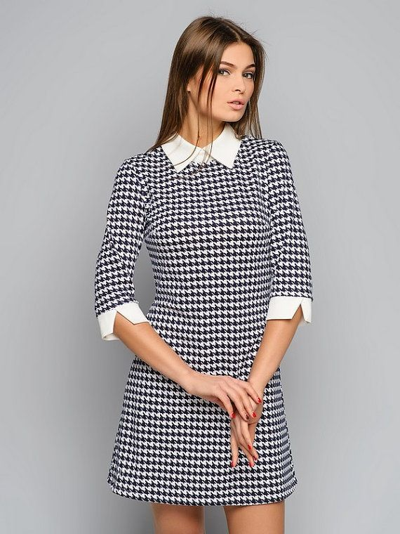 Houndstooth dress Peter Pan collar Dogtooth by AliceBerryFashion