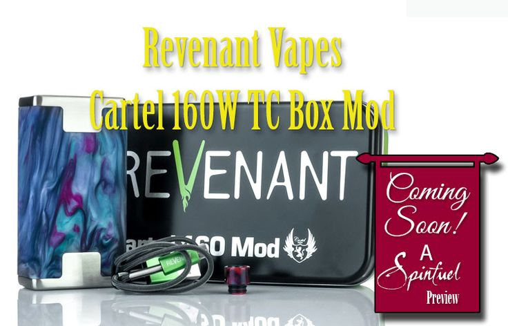Revenant Vape Cartel 160W TC Box Mod ($149.95 Element Vape) is available now and combines the expertise of Vaporesso, along with Cartel andRevenant Vape. The result is a beautiful chassis design, a proprietary chipset, featuring six total output modes with CCW and CCT adjustments. Although I've been only begun to use it day to day, I'm certainly liking what I've seen so far.   #160W mod #Cartel #Resin Box Mods #Revenant #vaping #Vaporesso