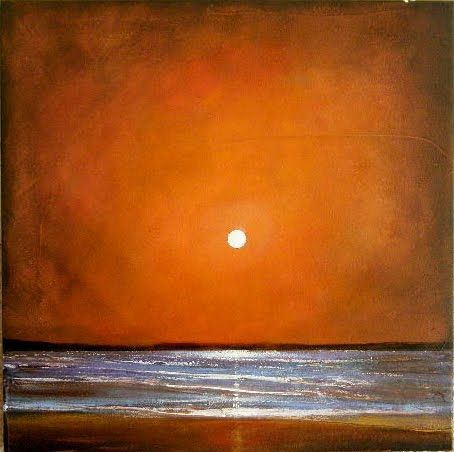 Oct 2 Minimalist Landscape Red Moon Seascape, painting by artist Toni Grote