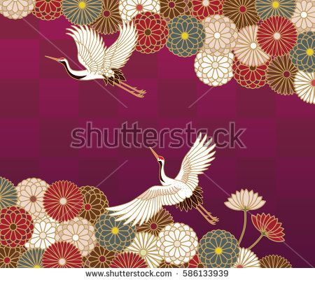 Cranes and chrysanthemums Japanese traditional pattern in dark purple background
