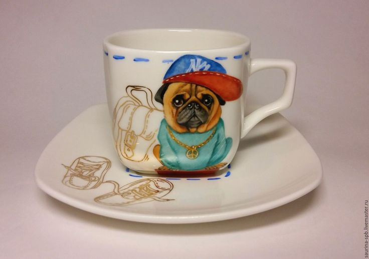 """Купить Чайная чашка с блюдцем """" Мопс ждёт """" - роспись на заказ, роспись керамики"""