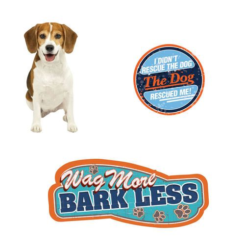 Bundle Three (3) Items: Beagle, Wag More Bark Less, and The Dog Rescued Me! Die Cut Magnets