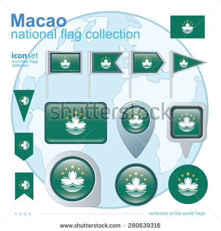 Flag of Macao, icon collection, vector illustration