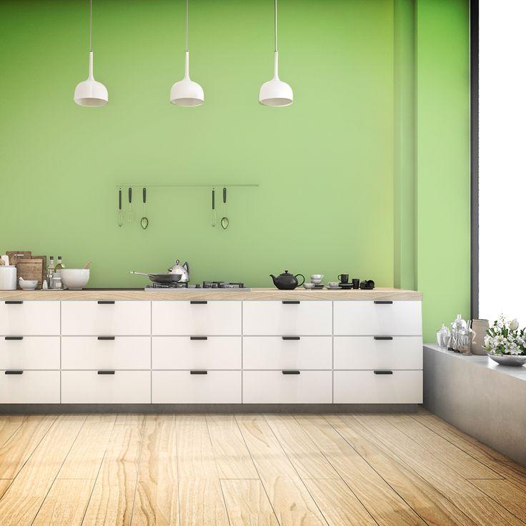 Agrega a los ingredientes de tu cocina un tono verde para sus paredes. Con este color refrescarás el lugar, además de brindarle tranquilidad al espacio.