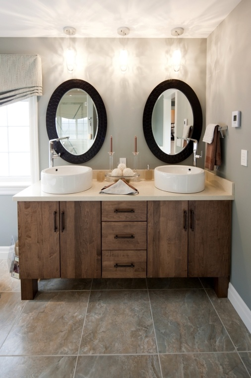 Gorgeous natural toned washroom from Heer's Interior's portfolio