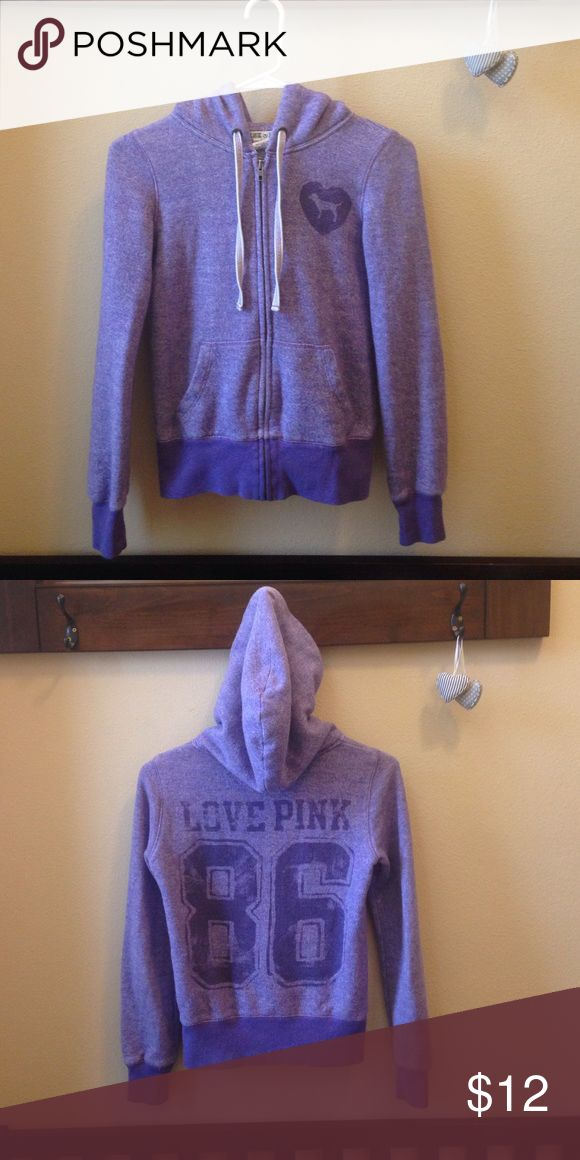 PINK Brand Purple Hoodie This comfy, heather purple, PINK hoodie is perfect for a lazy day at home or running around doing errands! 💜💜 PINK Victoria's Secret Tops Sweatshirts & Hoodies