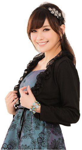 Amazon.co.jp: (アンフィニ) infini 長袖フリルボレロ 結婚式 フォーマル ブラック ピンク ホワイト LL 3L 4L 大きいサイズ: 服&ファッション小物