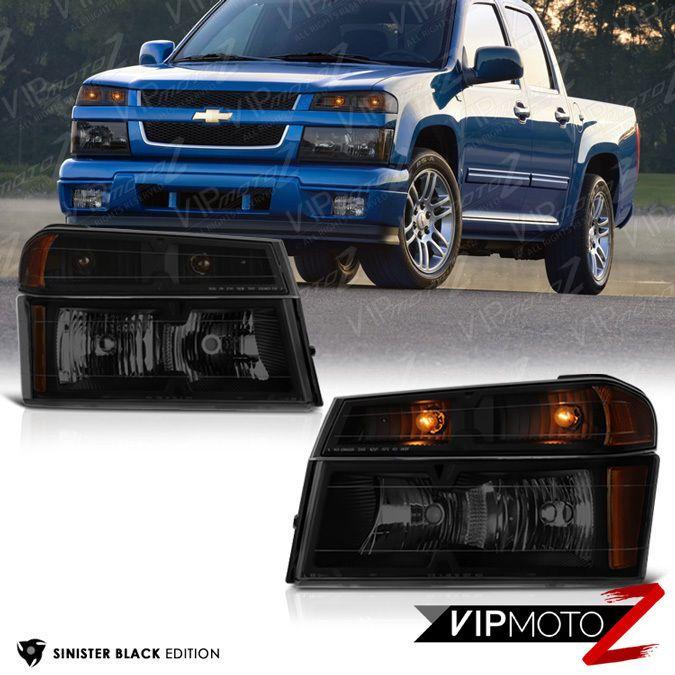 [SINISTER BLACK] 2004-2012 Chevy Colorado Bumper Signal Headlight Lamp 4PC Combo #VIPMOTOZ