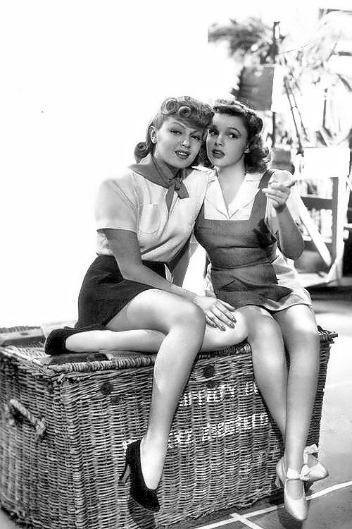 1941 - Judy Garland and Lana Turner on the set of Ziegfeld Girl - http://pinterest.com/itsagablething/hollywoods-golden-age/