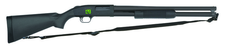 Mossberg Zombie Gun - Done in Z-style, aka the 500 ZMB. The stock is synthetic, the forearm a tri-rail so you can mount a light, and the capacity: 8 shots of 12-gauge goodness. The Mossberg 500 chassis has been around since before zombies, and you can find parts anywhere, in case you break something dealing with an outbreak. The safety is on top, suitable for you left-handed survivors, and operation is easy. Even a university English professor can learn to pump a shotgun.