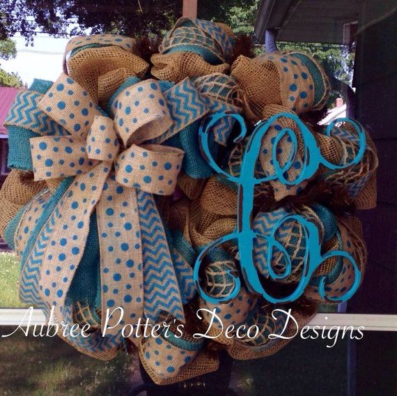 """Everyday Monogrammed Single 12"""" Vine Burlap Mesh Wreath With A Large Bow  on Etsy, $79.00"""