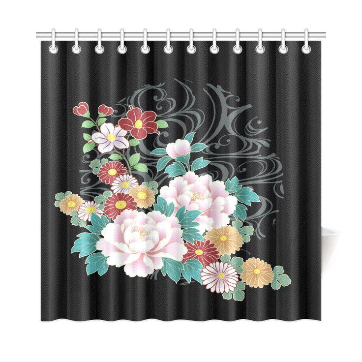 Chrysanthemum Peony Vintage Floral Kimono Pattern Shower Curtain 72