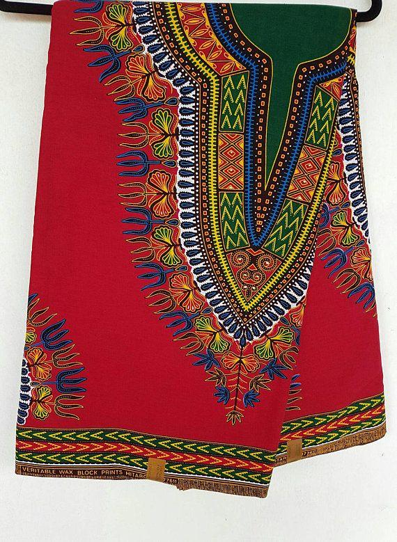 Red and Green Dashiki Fabric/ Dashiki/ Dashiki print/ Dashiki dress/Ankara Fabric / Wax Print / Afri