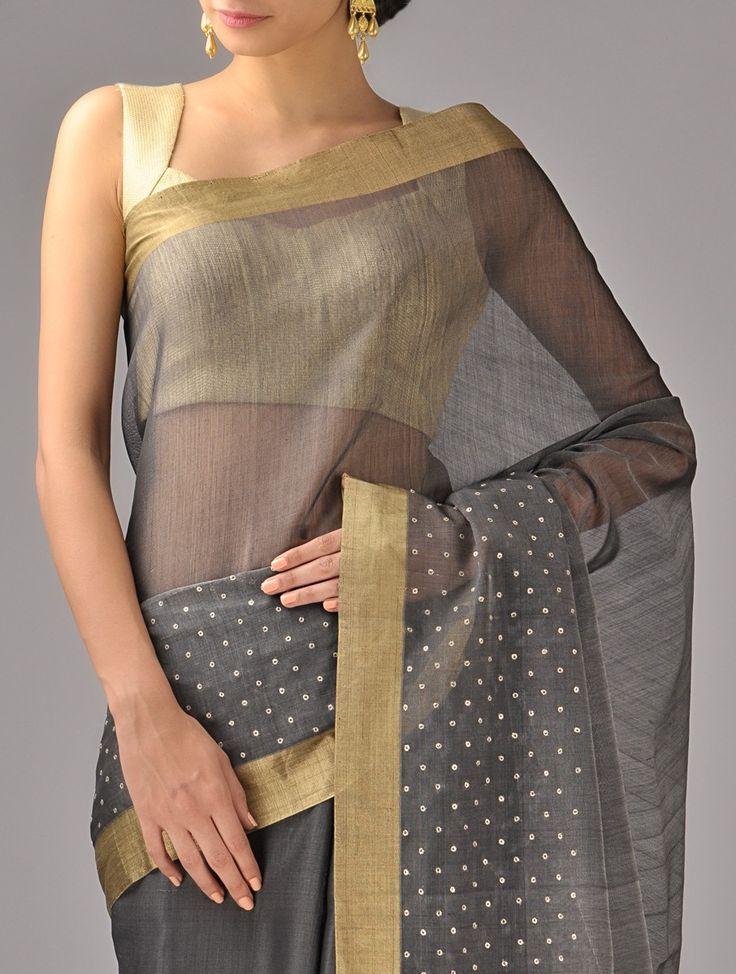 Black Zari Chanderi Silk Saree on Jaypore
