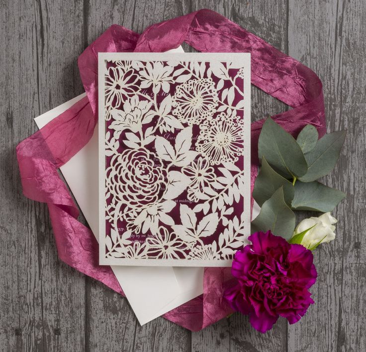 paper cut wedding invitations uk%0A Floral laser cut personalised wedding invitations with plum inserts