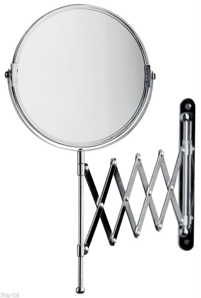 Sabichi Chrome Wall Mounted Extendable Folding Shaving Make Up Bathroom Mirror