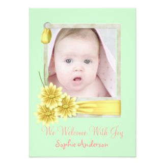 Green Daisy Baby Girl Photo Birth Announcement