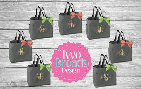 Bridesmaid Totes Personalized Tote Bag by TwoBroadsApparel on Etsy