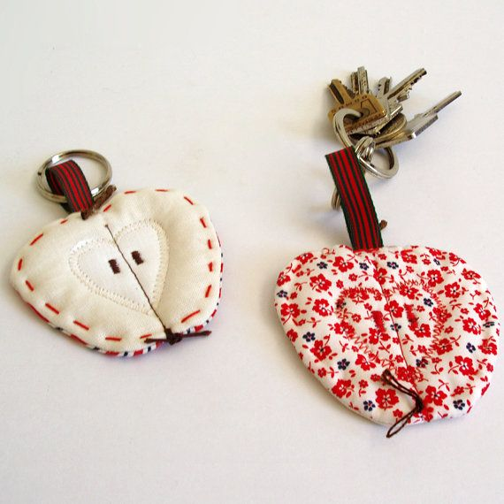 Apple key rings in floral and striped fabrics, set of 2