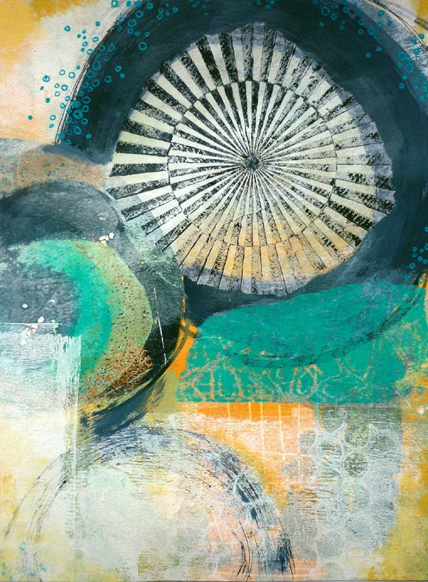 """from """"every colour in the box"""" - adding paint & collage to a gelli print to create a finished art piece"""