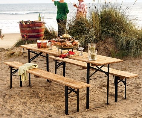 I recently bought a table just like this. Changing out the benches. Vintage German Beer Garden Table.