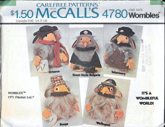 Vintage 1970s McCall's 4780 WOMBLES Stuffed by VintagePatternStore