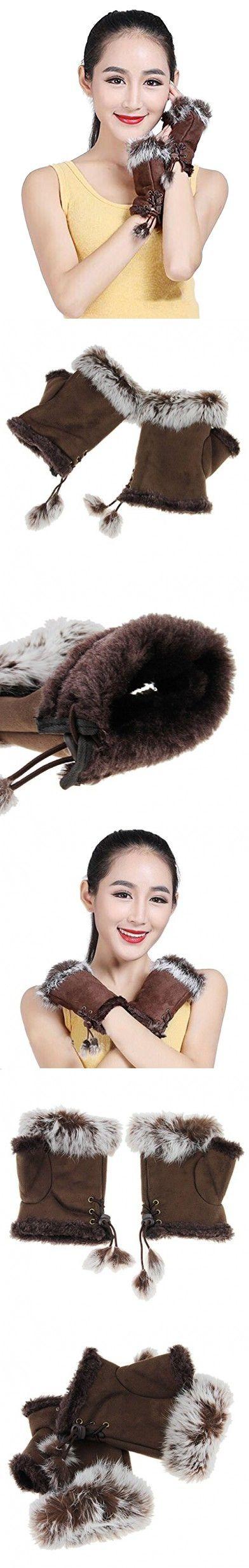 Women Girls Faux Suede Rabbit Fur Winter Warm Wrist Fingerless Gloves Mittens