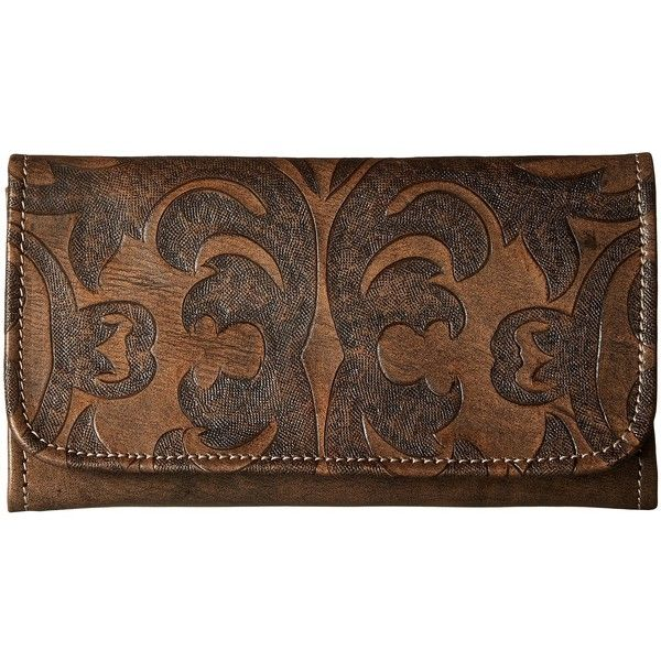 American West Baroque Trifold Wallet (Distressed Charcoal Brown) (€87) ❤ liked on Polyvore featuring bags, wallets, brown wallet, leather trifold wallet, tri-fold leather wallet, snap wallet and leather snap wallet