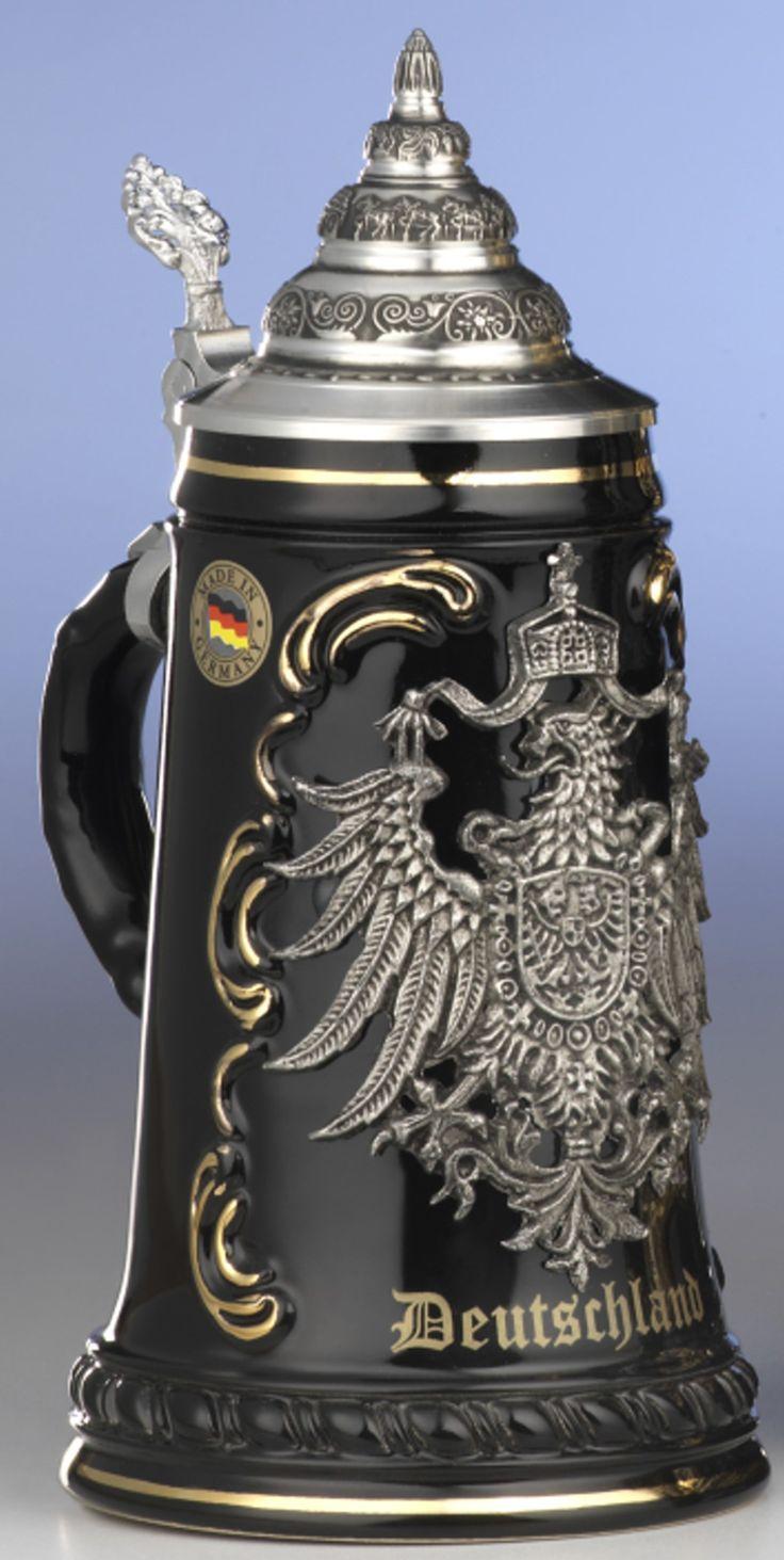 German Beer Stein Black Deutschland Pewter EAG Ki 415 SZA 0 5L Deutschland New | eBay