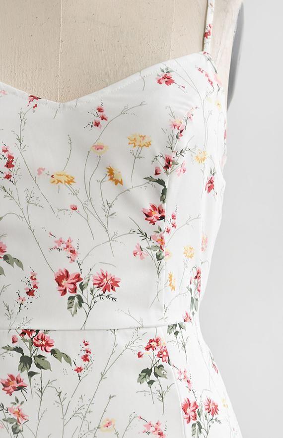 0b56efaac655 Feminine & Timeless Floral Midi Dress / Midi Floral Sundress / Piccolina  Fiore Dress – Adored Vintage