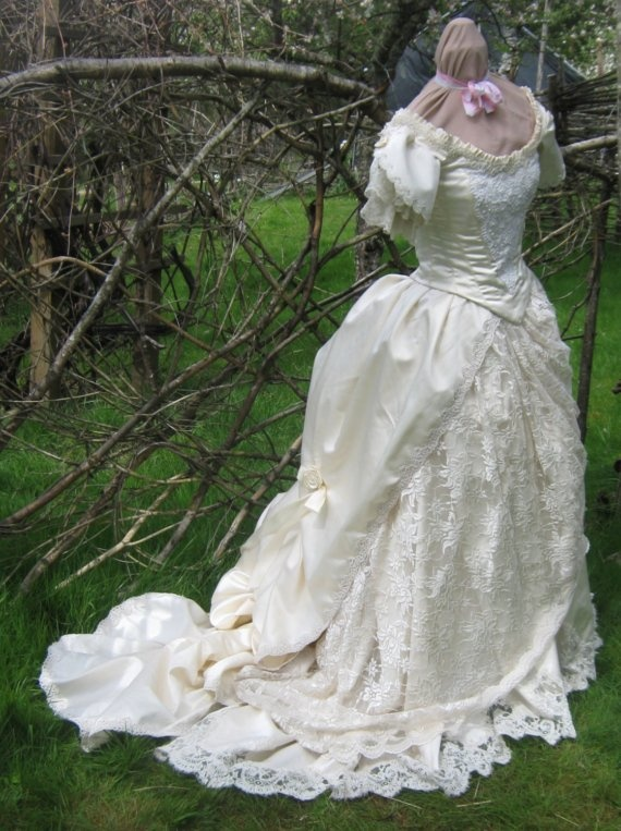 62 best victorian steampunk wedding decorations images on for Victorian bustle wedding dress