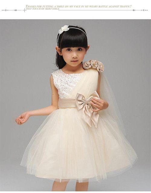Elegante Boutique de Cristal Chicas Vestido De Fiesta Ceremonias Solo Hombro Oblicuo de Encaje Ropa de Los Cabritos Traje de Princesa Arco Meninas