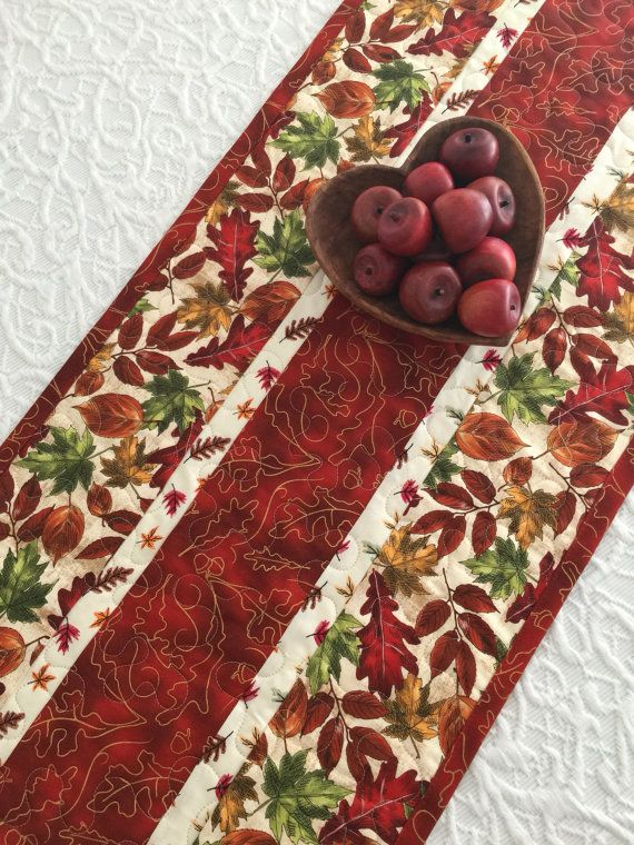 Fall Autumn Leaves Table Runner Quilt Red Green by KeriQuilts