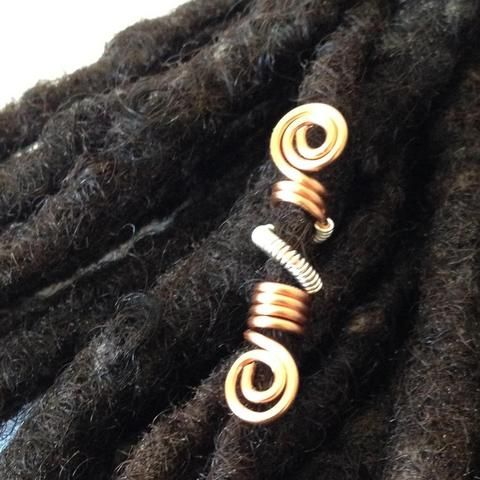 This hair bead is available in various in silver, copper, brass or bronze. Pick one. It comes in various sizes based on request (petite for sisterlocks, small - 4/5mm, medium - 6/7mm, large - 9-10mm).