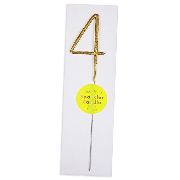 Number 4 Sparkler Candle