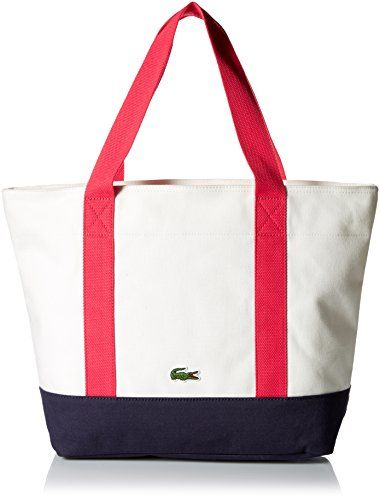 LACOSTE Daily Classic Animation Shopping Bag Red White Braid 3Bp2P50
