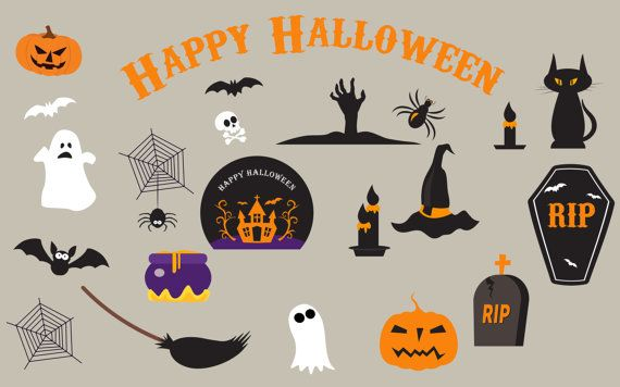 Halloween Clipart, Haloween Owl Clip Art, Spider Pumpkin Witch Haunted Ghost Spooky Bat, Witch clip art, broom clip art, ghost castle