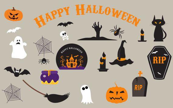 Halloween Clipart, Haloween Owl Clip Art, Spider Pumpkin Witch Haunted Ghost Spooky Bat, Witch clip art, broom clip art, ghost castle