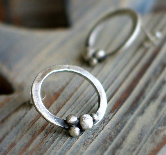 Bubble post earrings Sterling silver stud earrings by mariastudio