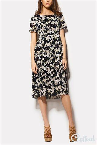 Платье миди из шифона в цветочном принте Essi 1504-2841 Темно-синее