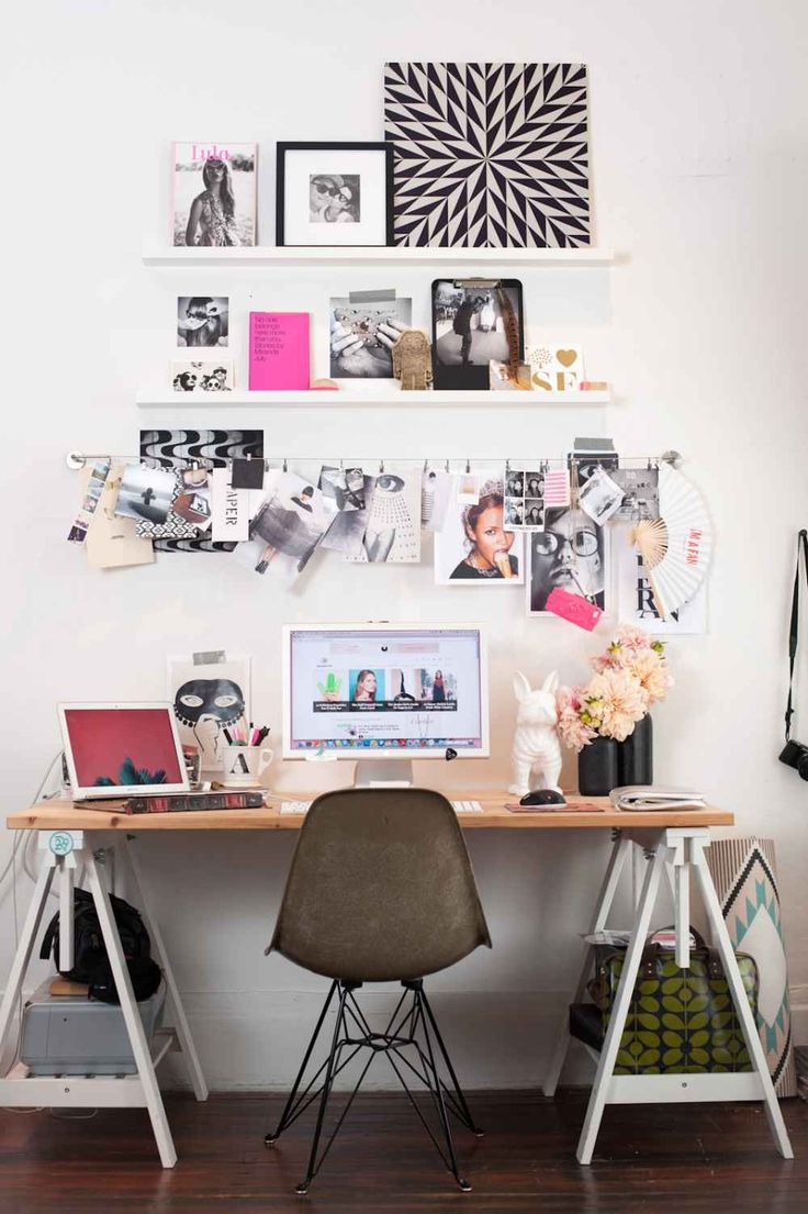 "Get Personal In The Home Office ""I used MADESQUARE, a service that lets you print Instagram images, to make my workspace more personal. I love the service because it has so many different ways to apply the photos, like the metal print which is a zoomed in Insta from a mural at Barrow Salon. Also, the photo clings, which are shots from R29 shoots. The set up was easy, too, just some wire and a few shelves — that's it!"""