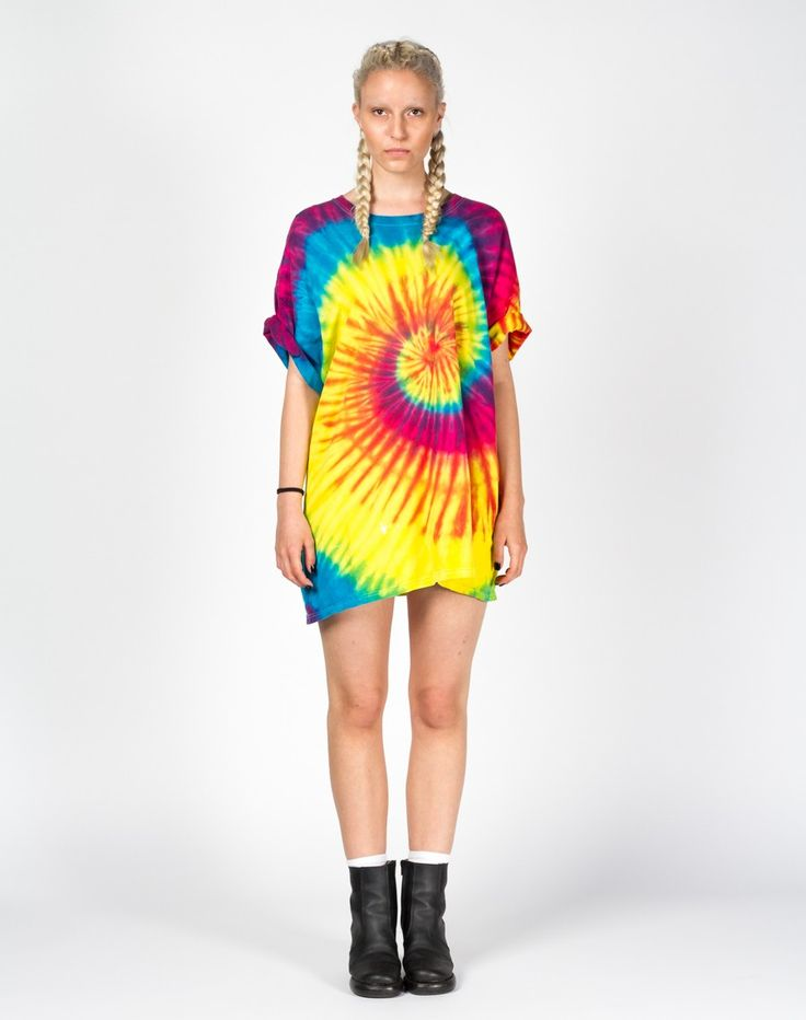 Rework Bright Spiral Tie Dye T-Shirt Dress UK 12