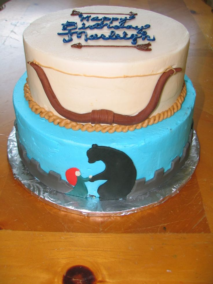 Brave Merida Cake - i like the writing with arrows on top