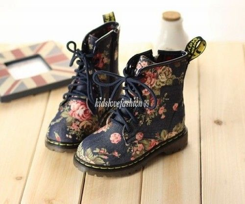 New Vintage Doc Martens Baby Girls Toddler Floral Denim Boots 12mos 6T 10 Sizes | eBay