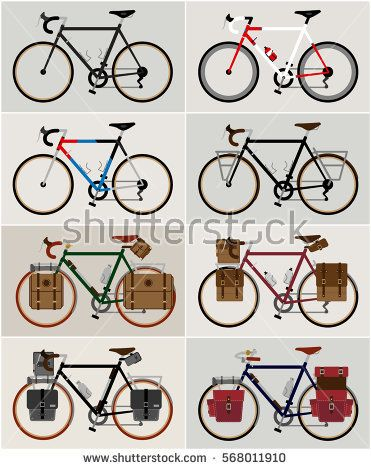 Bicycle set city bicycles travel and touring bicycle illustration