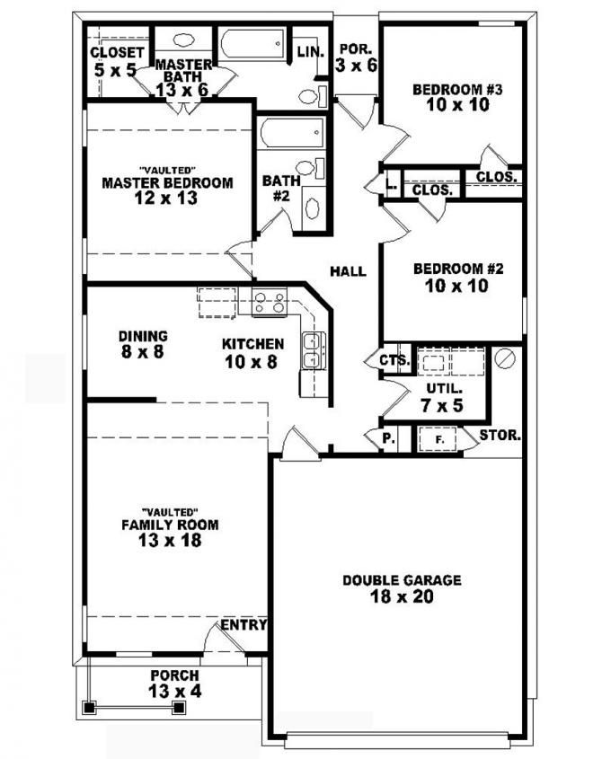 653710 one story country style 3 bedroom 2 bath for Three bedroom two bath floor plans