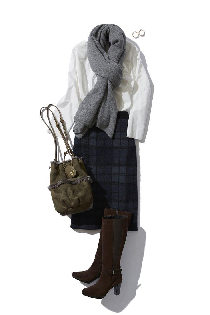 チェック柄タイトスカートの大人トラッドな冬の着こなし ― B