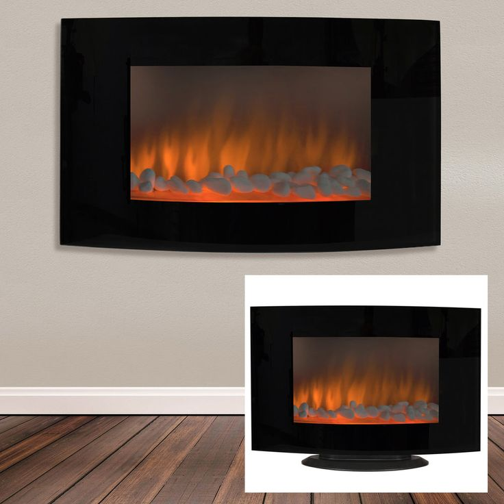 Free Standing Electric Fireplace Heater Portable Wall Mount Panel Tempered Glass #ElectricFireplace