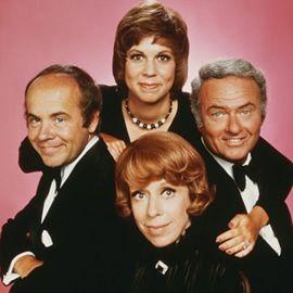 Cast of the Carol Burnett show: Carol Burnett, Tim Conway, Vicki Lawrence, and Harvey Korman