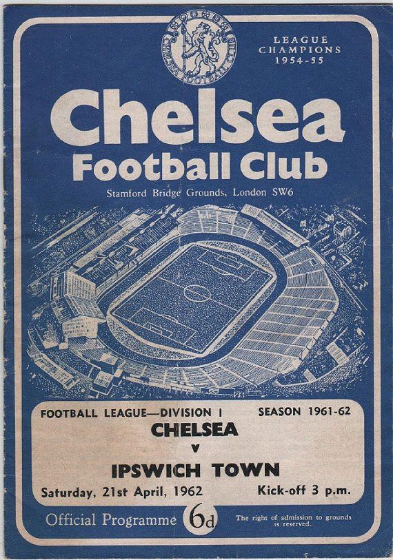 Vintage Football (soccer) Programme - Chelsea v Ipswich Town, 1961/62 season